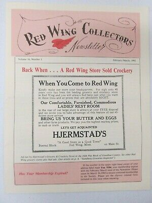 Red Wing Collectors Newsletter February March 1992 Back When Store Sold Crockery