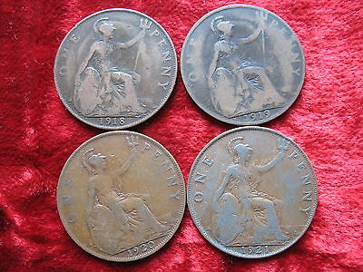 Lot of 4 English Large Penny's 1918 1919 1920 1921! NICE COINS! George the V!