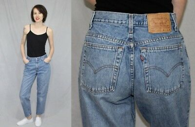 Vintage 90s Levis 550 Light Wash HIGH Waist Relaxed Tapered MOM Jeans 8S 29x28