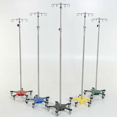 New MCM-222 Stainless Steel 5-leg Space Saving IV Pole w/4 Hook Top 1 ea