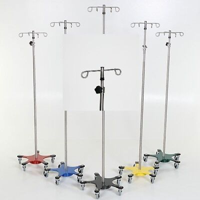 New MCM-221 Stainless Steel 5-leg Space Saving IV Pole w/2 Hook Top 1 ea