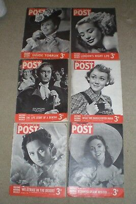 1941 PICTURE POST Magazines x 6 Film Star Covers Vivian Leigh, Robert Donat &c