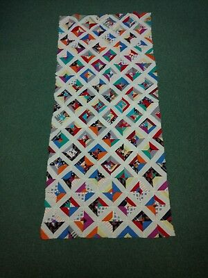 Hand Sewn Quilt Top Fabric Bright Colors Vintage Great Craftsmanship, Unfinished