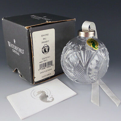 Waterford Crystal SEAHORSE Ball Iconic Christmas Tree Ornament #125411 MIB