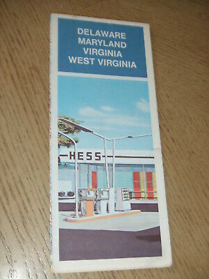 VINTAGE 1975 Hess Oil Gas Delaware Maryland Virginia West State Highway Road Map