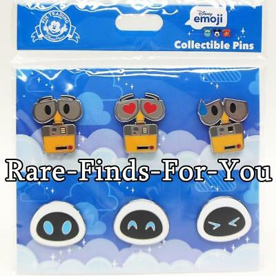 """Authentic Disney Parks Pixar """"Wall-E and Eve"""" Emoji 6-Pin Booster Pack Set (NEW)"""