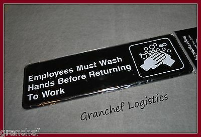 Employees Must Wash Hands Signs ~ 2 pieces ~ Easy Adhesive Hanging ~ New In Pkg.