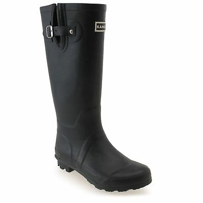 Kangol Tall Wellington Gum Boots Womens Black Rubber Rain Wellies