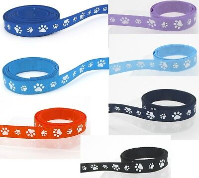 "15yds-50yds 9mm 3/8"" Pet Paw Prints Grosgrain Ribbon Eco Quality Craft Sewing"