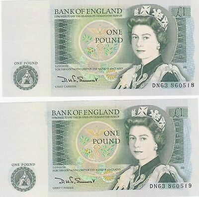 2 Consecutive B341 Somerset £1 Dn Bank Of England Notes Near Mint Condition
