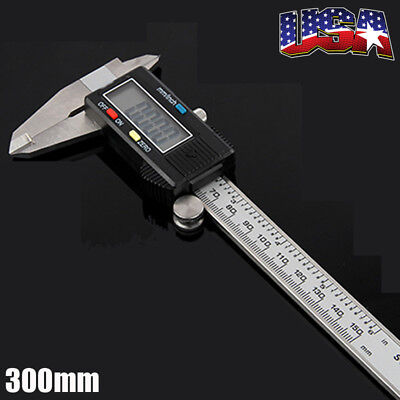 300mm 12inch Stainless Steel Digital Vernier Caliper Micrometer Guage Measure US