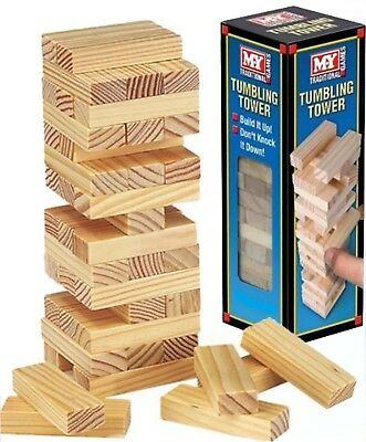 Wooden Stacking Tumbling Tower Game Kids Family Traditional Board Mini Travel