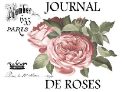 Vintage Image French Paris Pink Rose Furniture Transfers Waterslide Decals FL513