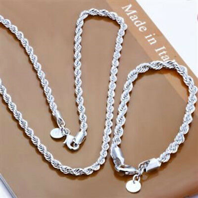 925sterling solid silver 4mm Twisted rope chain necklace bracelet 16 18 20 22 24