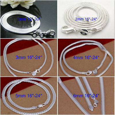 925sterling solid silver 1MM 2MM 3MM 4MM 5MM 6MM snake chain necklace 16-30INCH