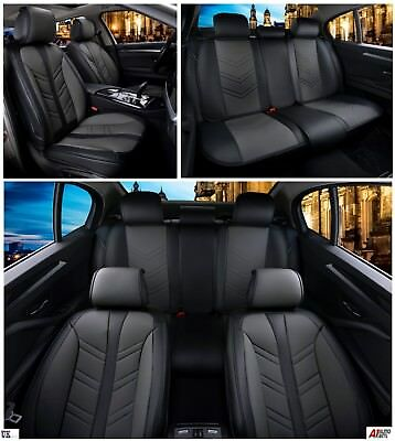 Black & Grey PU Leather Full Set Seat Covers For Ford Focus Fiesta Kuga C-Max