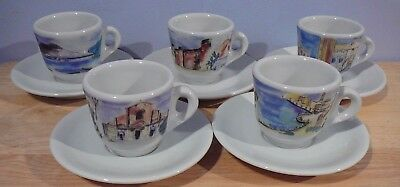 5 IPA Italy Espresso Cups & Saucers demitasse  scenery and landscapes