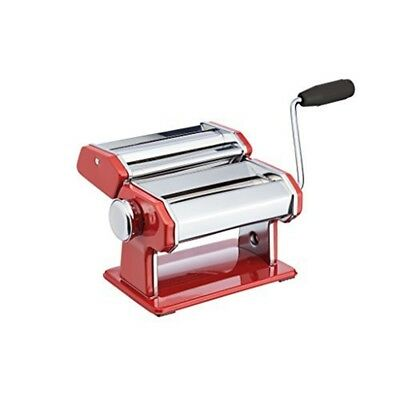 World Of Flavours Stainless Steel Pasta Maker Machine - Red - Italian Deluxe
