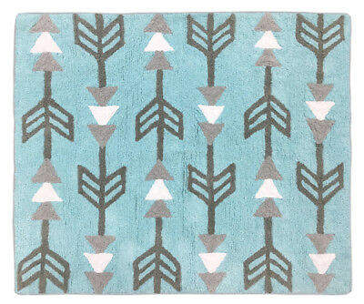 Baby Kid Room Floor Rug For Sweet Jojo Turquoise Blue Gray Earth & Sky Bedding