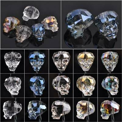 Wholesale 14x13mm Skull Head Faceted Cut Crystal Glass Loose Craft Beads lot
