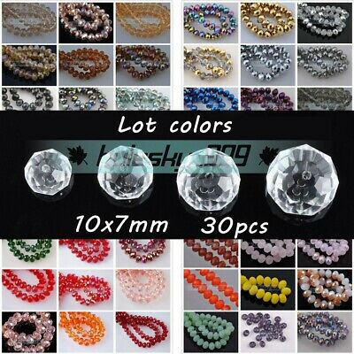 30pcs 10mm(10x7mm) Faceted Rondelle Crystal Glass Loose Spacer Beads DIY Jewelry