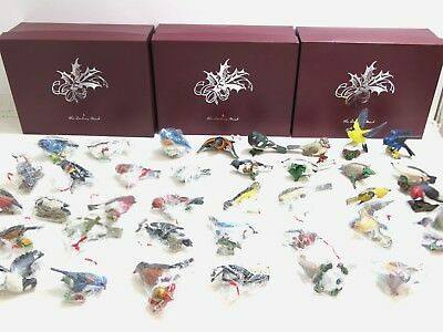 Huge Lot Of 39 The Danbury Mint Songbird Christmas Bird Ornaments With Boxes