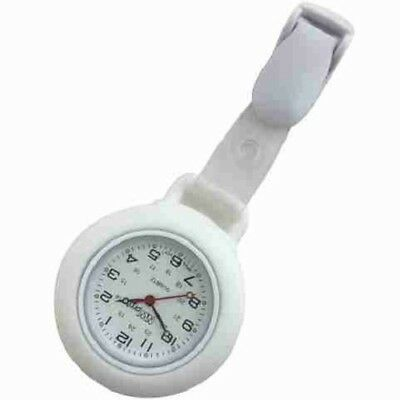 New First Hand Healthcare Therapist Nurse White Round Clip-On Silicone Watch