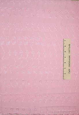 """Embroidered Eyelet Fabric - Light Pink Floral & Scallop - Cotton Poly Blend 34"""""""