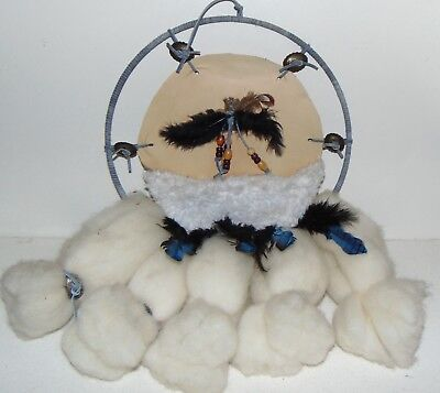 "Vintage Native American Dream Catcher W/ Feathers Fur Wool 12"" Round"