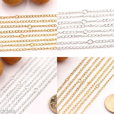 Lots 10/50Pcs Gold/Silver Plated Filigree Metal Chain Necklace Findings 3x2mm