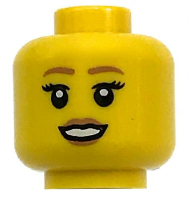 LEGO NEW FRIENDS GIRL FEMALE MINIFIGURE HEAD WITH BROWN EYES PINK LIPS PIECE