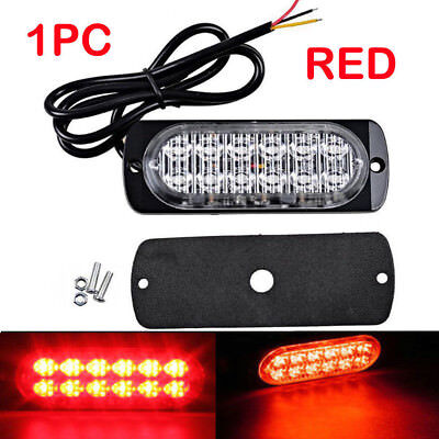 Red 12LED 12-24V Ultra Slim 18W Surface Mount Flashing Strobe Light Car SUV Van