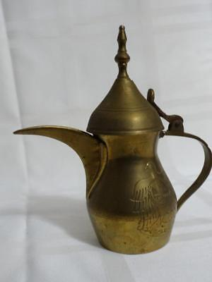 "Vintage Arabic Turkish Coffee Pot Patent #86710 Brass Etched 5.25"" Including Lid"