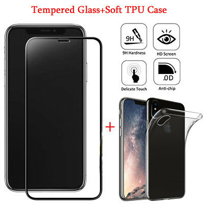 Fr iPhone X 3D Edge to Edge Full Curved Tempered Glass Screen Protector&TPU Case