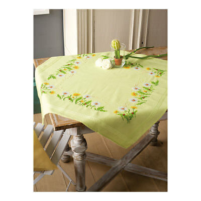 Embroidery Kit Tablecloth Dandelions Design Stitched on Cotton Fabric  80 x 80cm