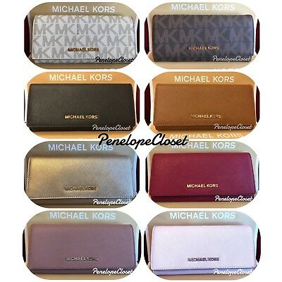 Nwt Michael Kors Leather Or Pvc Jet Set Travel Carryall Flap Wallet In Various