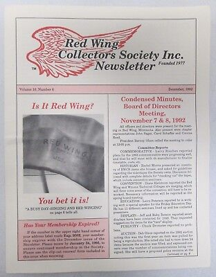 Red Wing Collectors Newsletter December 1992 Pre World War ll Innertubes USA