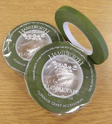 MOSS GREEN HALF WIDTH florist tape/Stem-Tex - suitable for craft, floristry work
