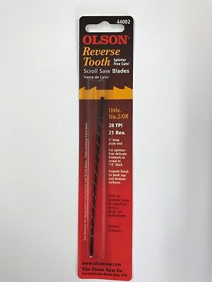 "Olson 5"" 130mm Plain Ended Reverse Scroll Saw Blades 12 Blades No.2/0    28tpi"