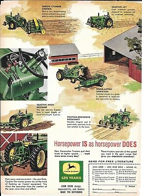 1962 John Deere New Generation Hydraulics Farm Equipment Ad