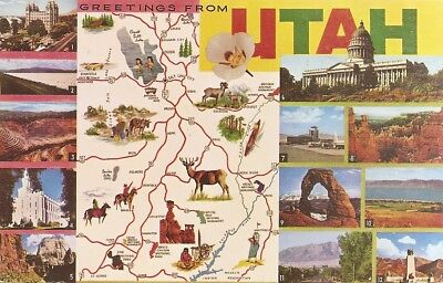 Vintage pc,Greetings from Utah,,,12 places of interest, map of state