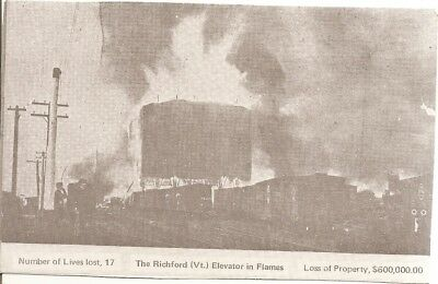1976 black and white postcard,Richford Vermont Elevator in flames, huge FIRE