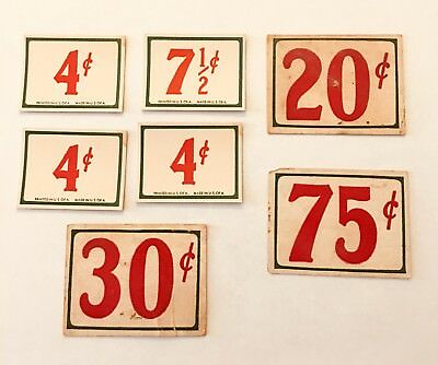 7 Vintage Old Country General Grocery Store Cardboard Price Tags Cards c1920's