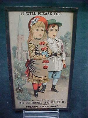 FRENCH VILLA SOAP 1880's TRADE CARD PAPERWEIGHT R W BELL BUFFALO MERCER PA