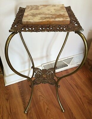 Antique Victorian Brass Marble Gilt Filigree Cast Iron Plant Stand 2 Tier Table