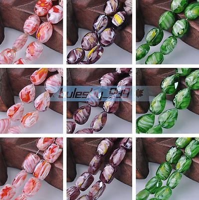 Wholesale 10pcs Millefiori Lampwork Glass Loose Spacer Beads Jewelry Findings