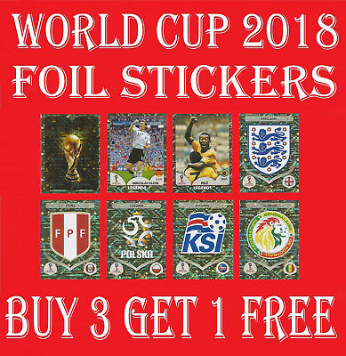 Panini World Cup 2018 FOIL STICKERS / SPECIAL / SHINY / BADGES / LOGO / LEGENDS