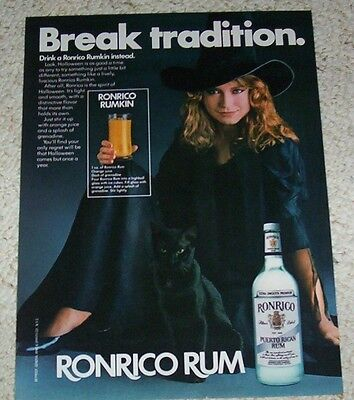 1982 ad page -Ronrico Rum Puerto Rico SEXY GIRL Halloween witch cat PRINT ADVERT