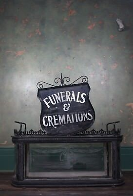 Funerals & Cremations Trade Shop Sign Reverse Painted Industrial Antique Macabre