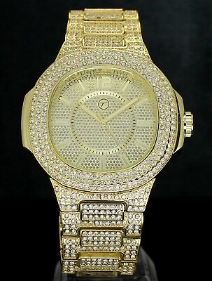 Mens 14k Gold Tone Iced out Simulated Diamond Hip Hop Rapper Luxury Watch
